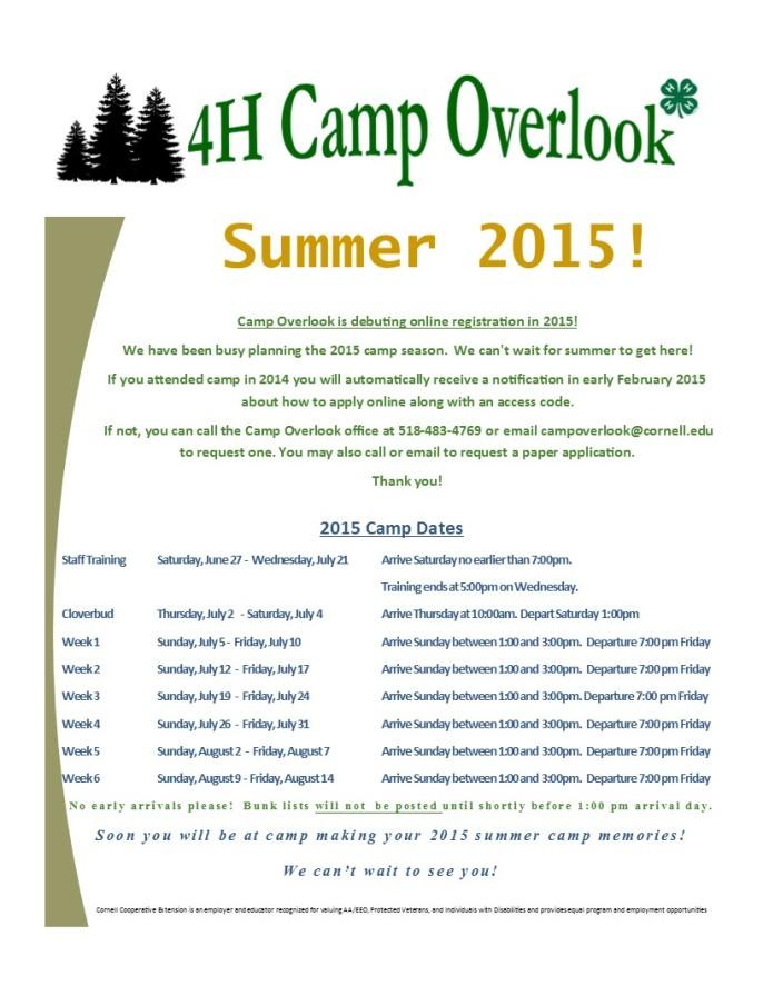 2015 Summer Camp Dates for Website