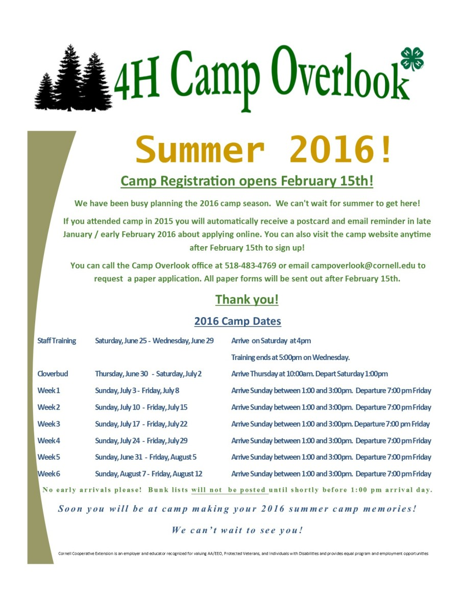 2016 Summer Camp Dates for Website
