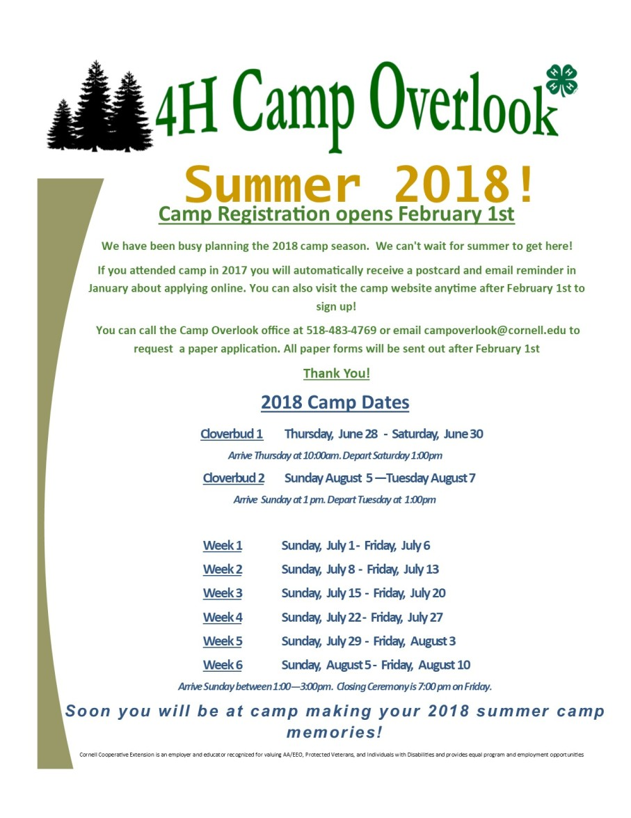 2018 Summer Camp Dates for Website